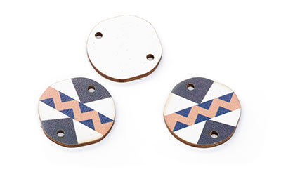 wood round wood 22mm white blue brown black x15pcs
