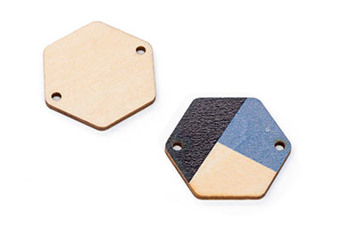 wood wood hexagon 28 * 25mm natural blue black x10pcs