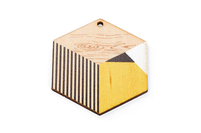 wood wood hexagon 38 * 43mm multi natural x10pcs