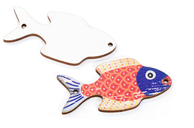 wood wood fish 23 * 46mm white multi x10pcs
