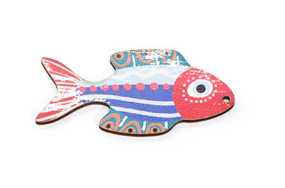 wood wood fish 27 * 55mm white multi x6pcs