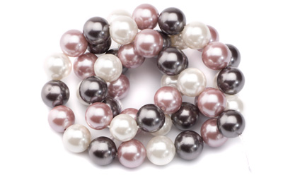 mixed color shell pearls round 8mm x1 std (approx 50p)