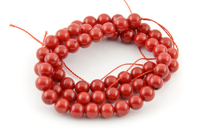coral bambou round 6mm 1 std (approx 65pcs)