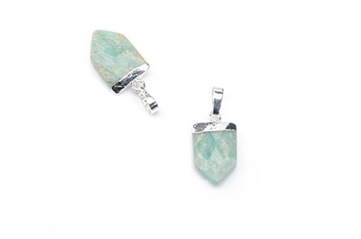 amazonite arrowhead pendant 10X15mm, Silver Color x1pce