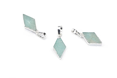 amazonite diamond pendant 9X16mm, Silver Color x2pcs