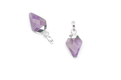 amethyst pendant faceted arrowhead 11X17mm x2pcs