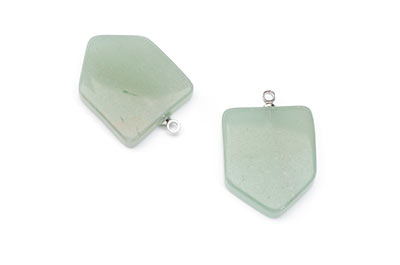 aventurine pendant green shield 19X23mm x4pcs