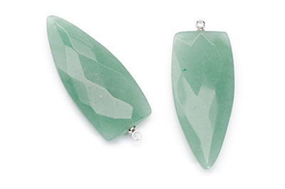 aventurine green faceted arrowhead pendant 18X40mm x2pcs