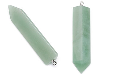 aventurine pendant green arrowhead 12X50mm x2pcs