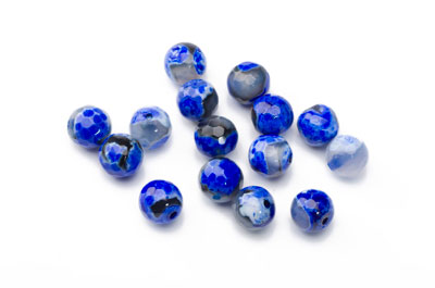 Agate Bead blue lapis round faceted 8mm x1 thread (approx 48pcs)