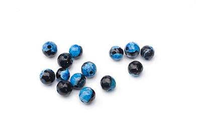 agate black blue round faceted 6mm x1fil