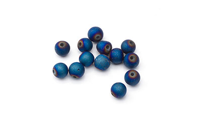 agate patinated matte blue bead 6mm x1fil