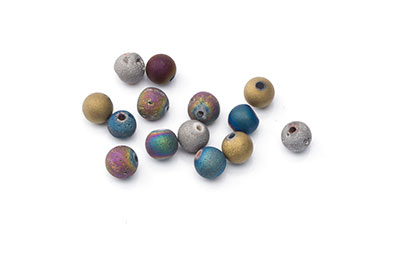 matt patinated agate bead multicolored 6mm x1fil
