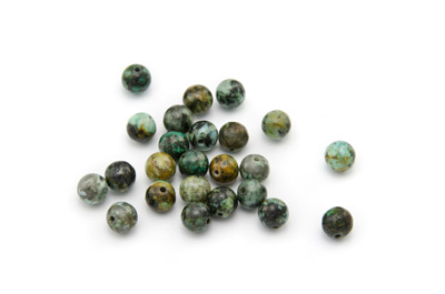 perle africaine turquoise ronde 6mm x1 fil (env 66pcs)