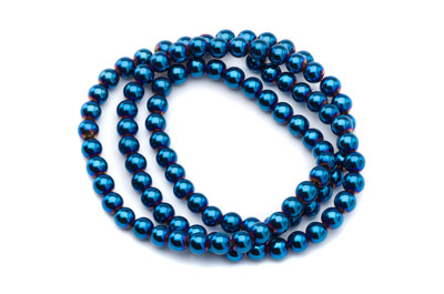 hematite metallic blue color round 4mm x1 std (approx 100p)