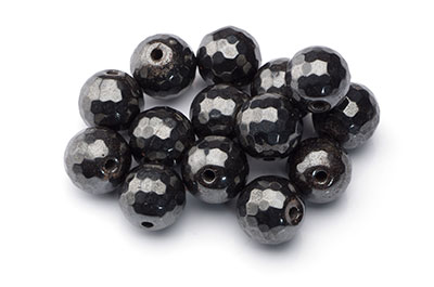 hematite magnetic faceted round 12mm x1 std (approx 33pcs)