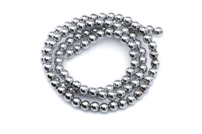 hematite silver color round 4mm x1 std (approx 100p)