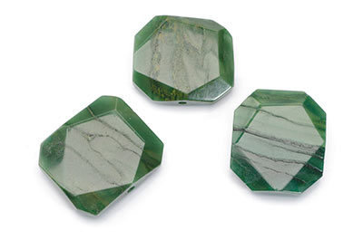 pearl African jade flat faceted pierced Approx20X24mm x1fil