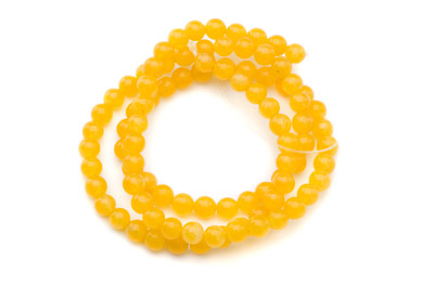 perle jade jaune tournesol ronde 4mm x1 fil (env 90pcs)