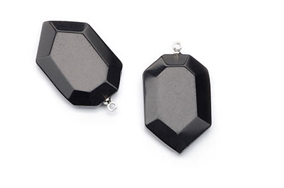 obsidian pendant faceted shield 19X29mm x2pcs