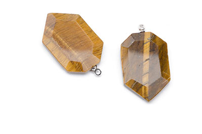 tiger eye pendant faceted shield 19X29mm x2pcs