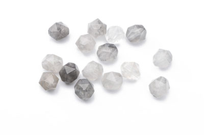 perle quartz gris nugget facetée 8x7mm x1 fil (env 46pcs)