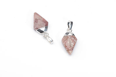 faceted arrowhead rhodonite pendant 11X17mm x2pcs