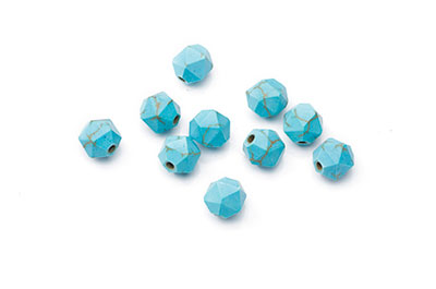 synthetic turquoise bead nugget faceted 8mm x1fil