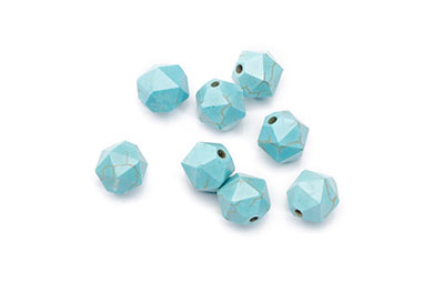 Synthetic Turquoise Bead Faceted Nuggets 10mm x1fil