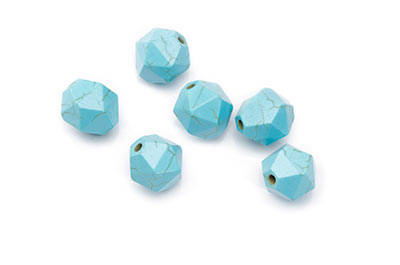 Synthetic Turquoise Bead Faceted Nuggets 12mm x1fil