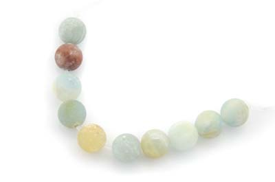 multicolore amazonite frosted round 8mm x1 std (approx 50pcs)