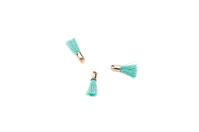 pompon 12mm aqua/gold tone x20pcs