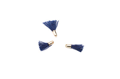 pompon 12mm navy blue/gold tone x20pcs
