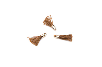 pompon 12mm brown/gold tone x20pcs