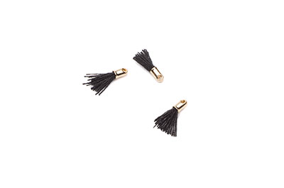 pompon 12mm black/gold tone x20pcs