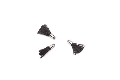 pompon 12mm black/rhodium x20pcs