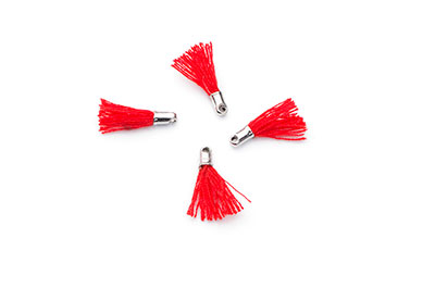 tassel red 12mm silver tip x20pcs