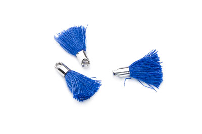 tassel 18mm blue electric ferrule rhodium-plated x20pcs