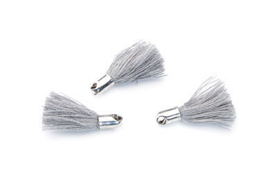 tassel 18mm gray rhodium-plated tip x20pcs