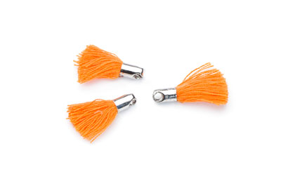 tassel 18mm orange rhodium-plated tip x20pcs