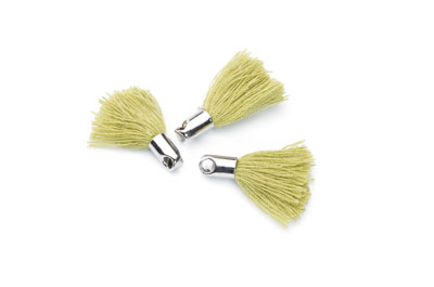 tassel 18mm olive green rhodium-plated tip x20pcs