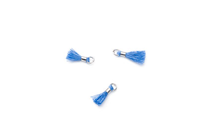 tassel 12mm blue electric rhodium ring x20pcs