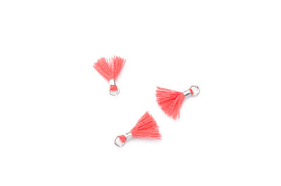 tassel 12mm red salmon rhodium ring x20pcs
