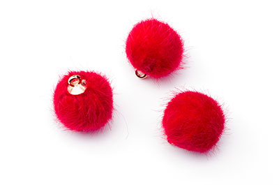 synthetic fur pompom red 16mm x20pcs