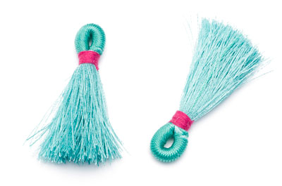 aqua synthetic tassel 40mm x4pcs