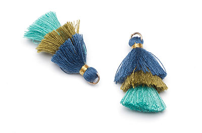 tassel 3 colors blue olive approx 30mm x4pcs