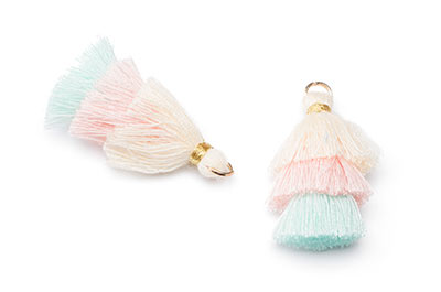 tassel 3 colors ivory aqua approx 30mm x4pcs