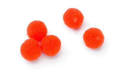 pompon rond 15mm orange x100pcs