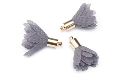 gray flower pompom 25mm x10pcs