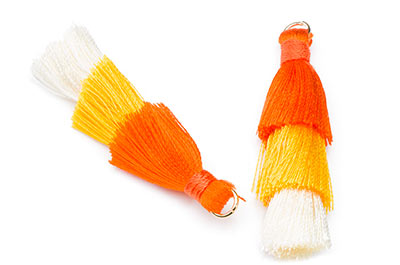 Pompom 3 Farben Safran Orange ca. 40mm x3pcs